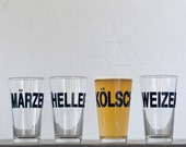 SALE - German beers - Weizen hand printed pint glass - dark charcoal - Weizen style