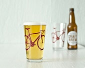 4 bike pint or rocks glasses, screen printed bicycle