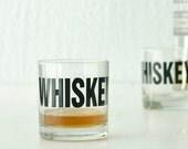 WHISKEY - hand printed rocks glasses, set of 2