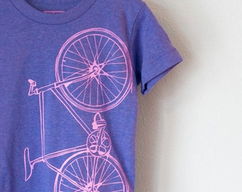 FIXIE BICYCLE TSHIRT toddler tri-blend bike tee pink on purple heather 2T 4T 6T