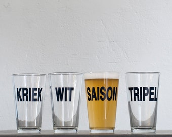 SALE - Tripel Belgian Beer hand printed pint glass - dark charcoal - Tripel style