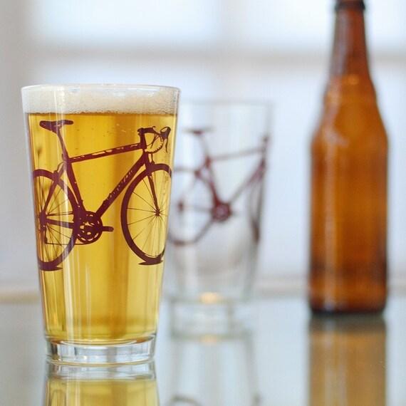 Vital Bicycle, screen printed glassware, Burgundy, set of 2 pint glasses