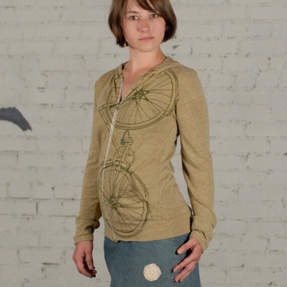 Sale - Small - Fixie - unisex eco heather zip hoodie, olive