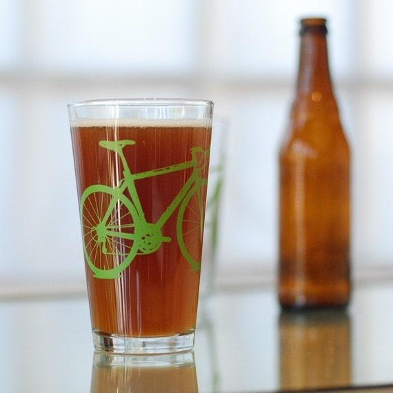 Vital Bicycle, screen printed glassware, grass green, set of 2 pint glasses