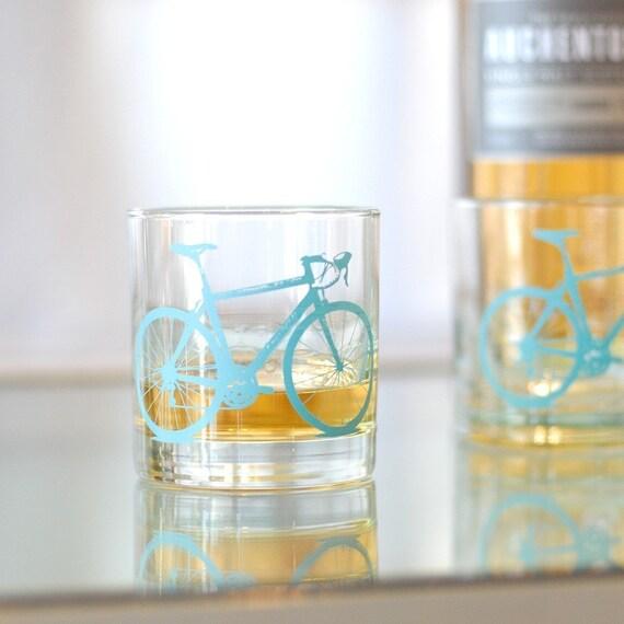 4 bicycle rocks or pint glasses, turquoise bike