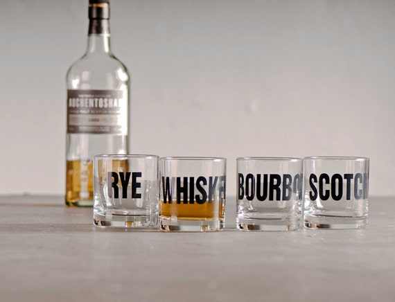 Whiskey, bourbon, scotch and rye - hand printed rocks glasses -set of 8