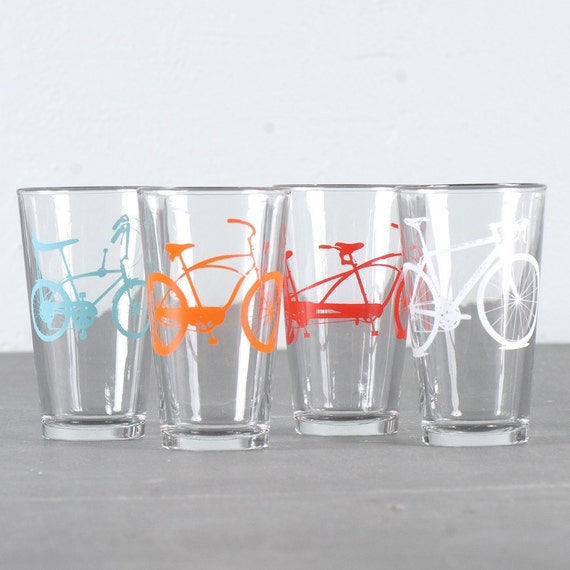 Mixed-up super bike party  - screen printed bicycle pint glasses, set of 8