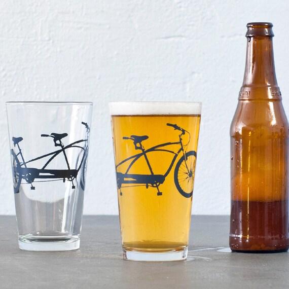 4 Hand Printed Bike Pint Glasses Charcoal Tandem Bicycle