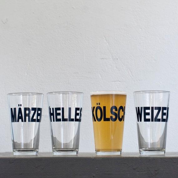 SALE - German beers - Weizen hand printed pint glass - dark charcoal - Weizen style
