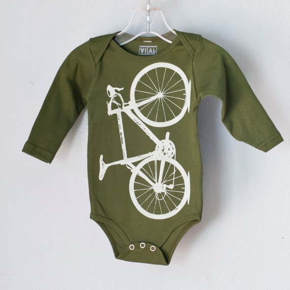 SALE - LAST 6-12 mo - Vital bicycle, Infant long sleeved one piece, pale green on olive