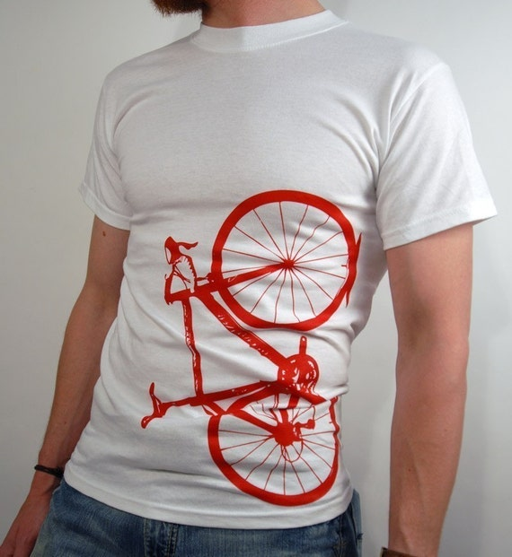 men's bicycle shirt - red on white, small