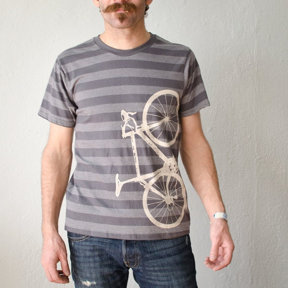 SALE - Large - Vital Bicycle - Men's striped bike tee, discharge