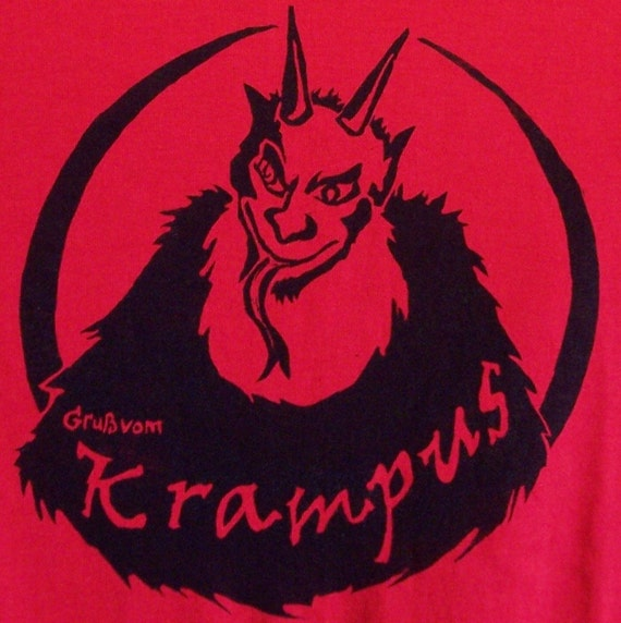 Gruss vom Krampus warning for the naughty t-shirt Size L original screen print design