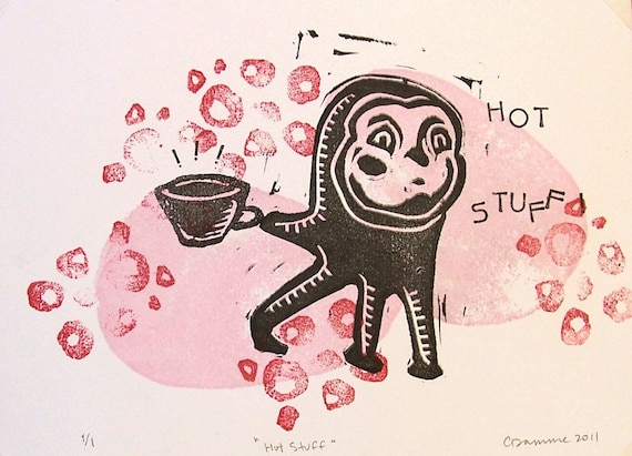 Hot Stuff Original Odd Octopus Creature Kitchen Art Block Print