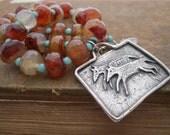 Coyote Ridge Carnelian and Turquoise Southwestern Necklace
