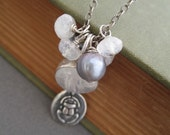 Scarab Moon Pearl and Moonstone Necklace