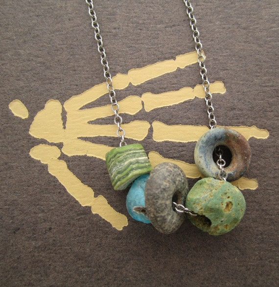 SPRING SALE - The Land of the Lost Ancient Beads and Sterling Silver Necklace