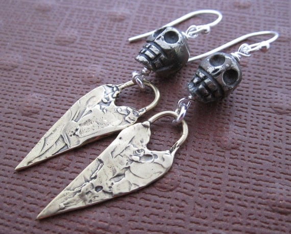 Shades Pyrite Skull and Silver Heart Earrings