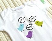 Conversation Birdies - PURPLE - Baby Onesie - Size LARGE - 6 to 9 Months