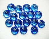 Pretty Lot of 17 Vintage Faceted Blue Glass Buttons-Embellishments