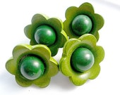 Four Fabulous Vintage Dyed Green Wooden Flower Cup Buttons
