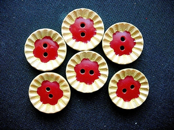 Neat Matching Set of Six Rare Vintage Two-Color Bakelite Flower Buttons-Tested Positive