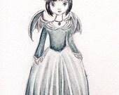 Little Vampire Girl, Halloween Original painting