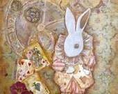 I'm Late, Alice in Wonderland White Rabbit Art Print