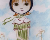 Sale! Original Painting Kitty, Whimsical Big Eyed Girl