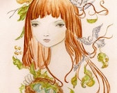 Reserve listing- Woodland Nature Girl 8x10 art print of original  painting