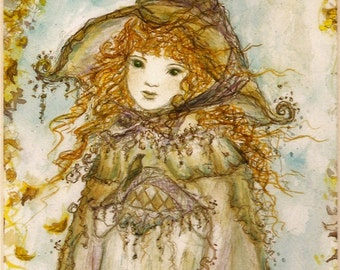 Original Painting Little Miss Magic Witch