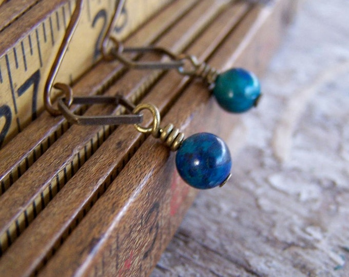 Clearance Sale: **READY TO SHIP** Sweet Something Earrings- Chrysocolla. Copper.