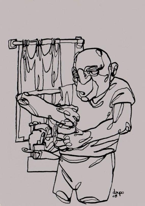 the tough jar - an original ink drawing