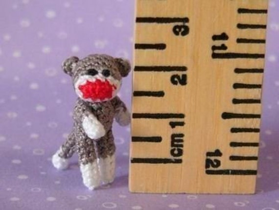 Muffa's - PDF Pattern\/Tutorial how to crochet a micro miniature jointed Sock Monkey