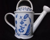 Hand painted Watering Can Shaped Porcelain Teapot with Dutch Style, Folk Art Blue Flowers