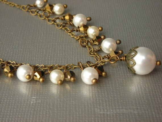 Pearl necklace, pearls and brass necklace
