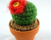 Red Flower Crochet Cactus