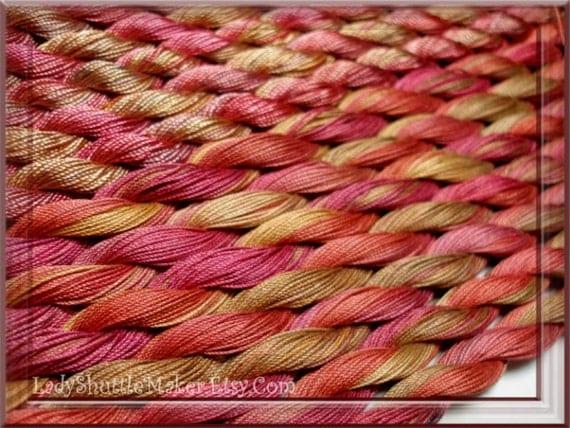 KOPPER PATINA    Size 20    hand dyed TATTING crochet embroidery CQ thread      100 percent SILK