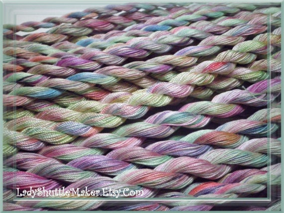 Wild Flowers Size 20 hand dyed TATTING crochet embroidery CQ cotton thread 6 cord