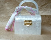 Vintage Lucite Purse - Pearlescent Box