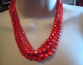 Red Hot 1940s Vintage Layered Red Crystal Bead Necklace
