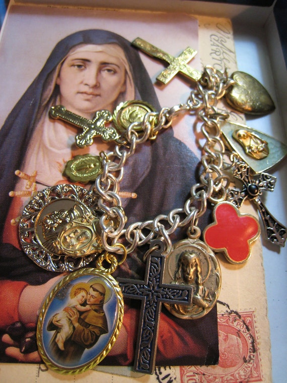 Host of Saints Charm Bracelet With Vintage Religious Medals and Crosses