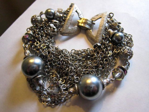 Mad Men Huge Silver Vintage Layered Chain Bracelet Pearl Crystal