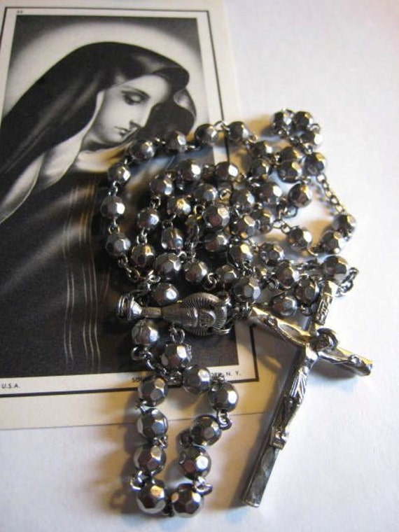 Vintage 1950s Silver Metal Holy Communion Rosary