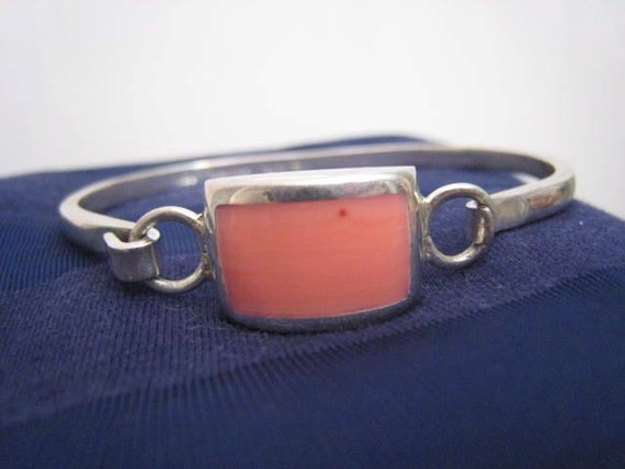 Estate Sterling Silver Peach Coral Mexican Bangle Cuff Bracelet