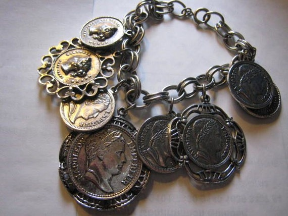 Huge Vintage Silver Coin Charm Bracelet 1960s Napoleon
