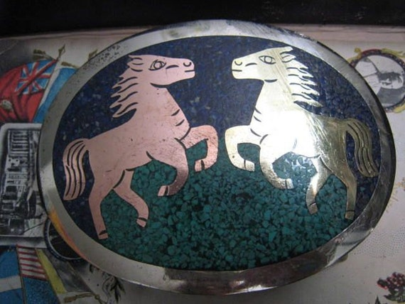 Vintage 1950s Mexican Silver Horse Belt Buckle Crushed Blue Stones