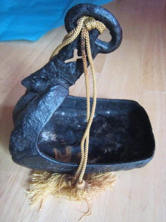 Old Vintage Antique Rustic Heavy Cast Iron Black Vessel Bowl Incense Burner
