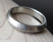 Mens Wedding Band - 10k White Gold - Art Deco design Apex