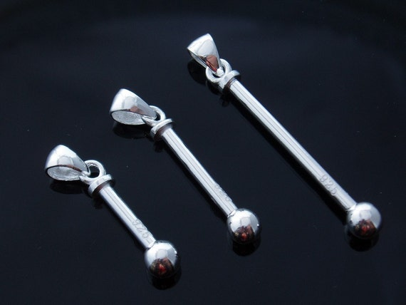 Interchangeable Sterling Silver Bead Holder Pendant - Size 3